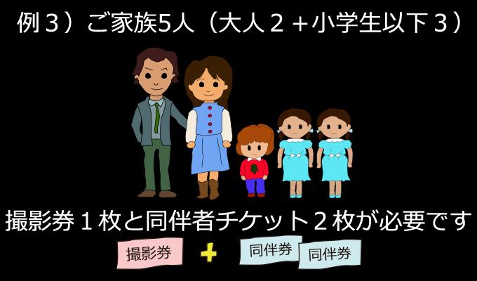 ご家族5人(大人2・小学生3)で撮影する場合