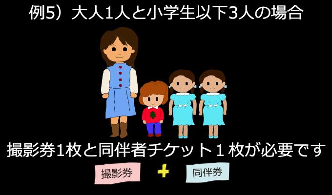 ご家族4人(大人1・小学生3)で撮影する場合